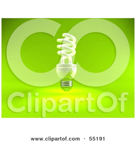 Royalty-Free (RF) Clipart Illustration of a Green 3d Spiral Light Bulb - Version 1 by Julos