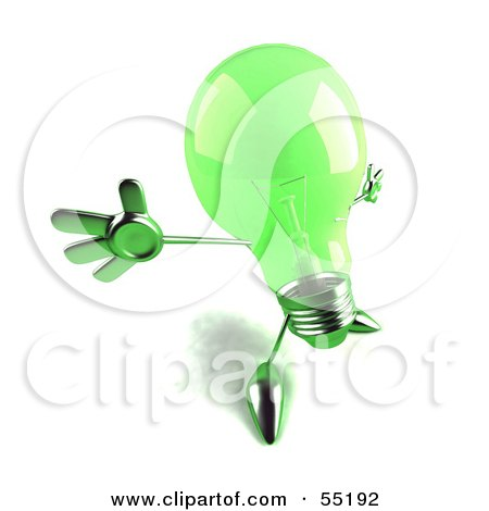 Royalty-Free (RF) Clipart Illustration of a Green 3d Glass Light Bulb Character Holding His Arms Out - Version 2 by Julos