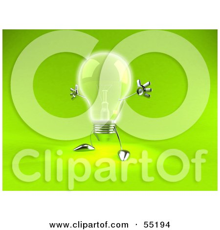 Royalty-Free (RF) Clipart Illustration of a 3d Glass Light Bulb Character Holding His Arms Out - Version 2 by Julos