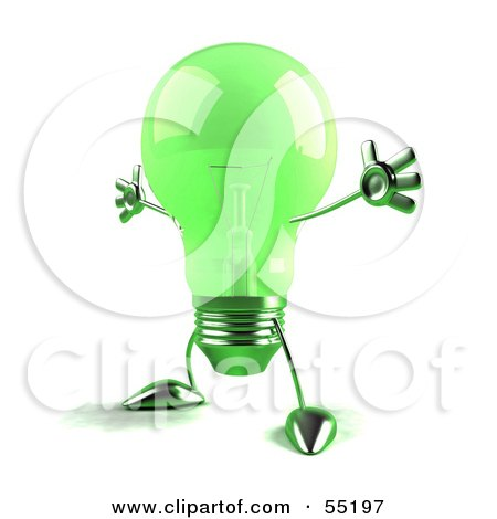 Royalty-Free (RF) Clipart Illustration of a Green 3d Glass Light Bulb Character Holding His Arms Out - Version 3 by Julos
