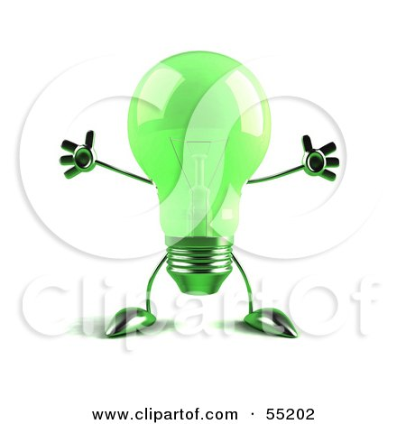 Royalty-Free (RF) Clipart Illustration of a Green 3d Glass Light Bulb Character Holding His Arms Out - Version 1 by Julos