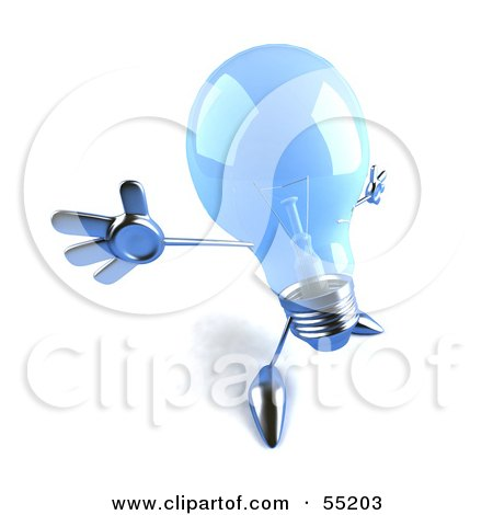 Royalty-Free (RF) Clipart Illustration of a Blue 3d Glass Light Bulb Character Holding His Arms Out - Version 3 by Julos