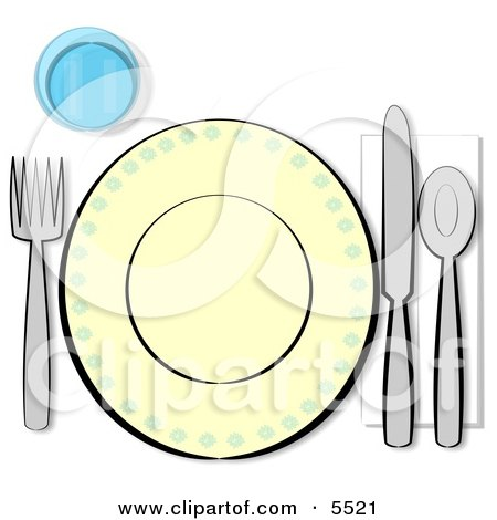 Informal Complete Place Setting for One Clipart Illustration by djart