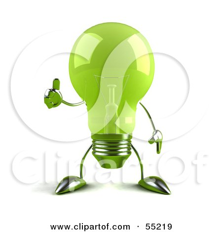 Royalty-Free (RF) Clipart Illustration of a Green 3d Glass Light Bulb Character Giving The Thumbs Up - Version 1 by Julos