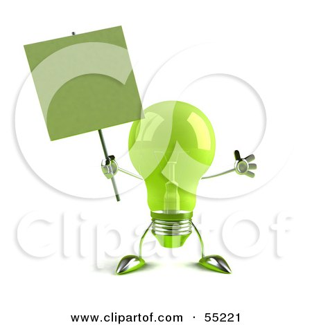 Royalty-Free (RF) Clipart Illustration of a Green 3d Glass Light Bulb Character Holding A Blank Sign On A Post - Version 2 by Julos