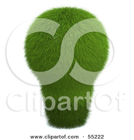 Royalty-Free (RF) Clipart Illustration of a 3d Green Grassy Electric Light Bulb by Julos