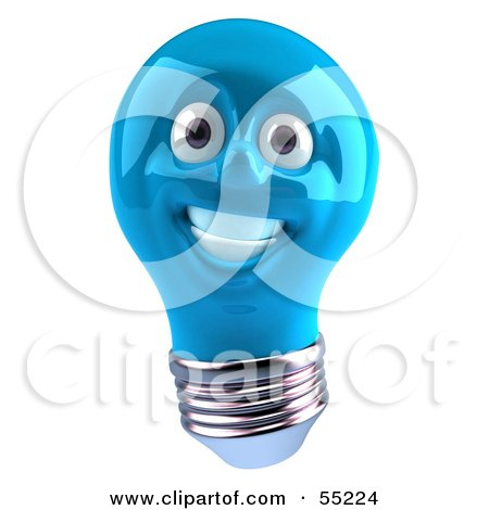 Royalty-Free (RF) Clipart Illustration of a Blue 3d Electric Light Bulb Head Character Smiling - Version 1 by Julos
