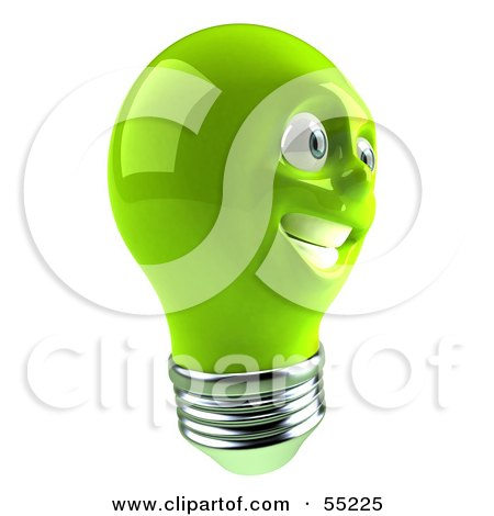 Royalty-Free (RF) Clipart Illustration of a Green 3d Electric Light Bulb Head Character Smiling - Version 4 by Julos