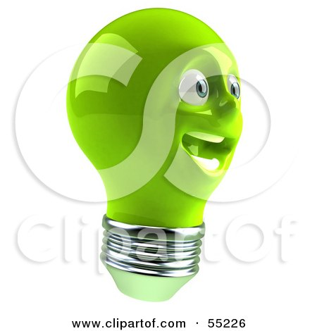Royalty-Free (RF) Clipart Illustration of a Green 3d Electric Light Bulb Head Character Smiling - Version 5 by Julos