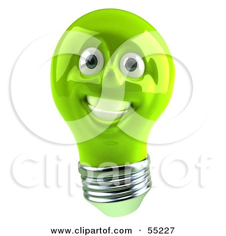 Royalty-Free (RF) Clipart Illustration of a Green 3d Electric Light Bulb Head Character Smiling - Version 1 by Julos