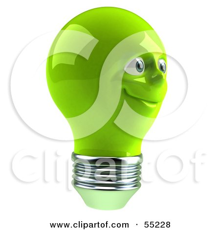 Royalty-Free (RF) Clipart Illustration of a Green 3d Electric Light Bulb Head Character Smiling - Version 6 by Julos