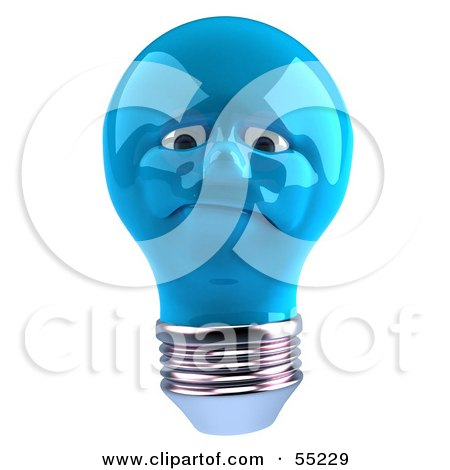 Royalty-Free (RF) Clipart Illustration of a Grumpy Blue 3d Electric Light Bulb Head Character by Julos
