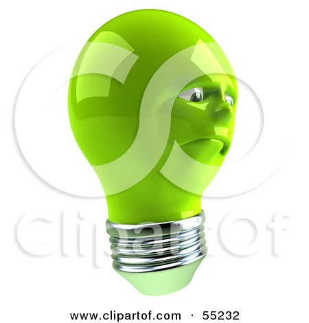 Royalty-Free (RF) Clipart Illustration of a Sad Green 3d Electric Light Bulb Head Character by Julos