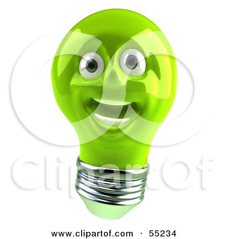 Royalty-Free (RF) Clipart Illustration of a Green 3d Electric Light Bulb Head Character Smiling - Version 2 by Julos