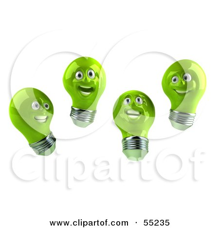 Royalty-Free (RF) Clipart Illustration of a Group Of Happy Green 3d Electric Light Bulb Head Characters by Julos