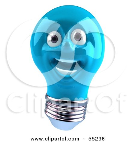 Royalty-Free (RF) Clipart Illustration of a Blue 3d Electric Light Bulb Head Character Smiling - Version 2 by Julos