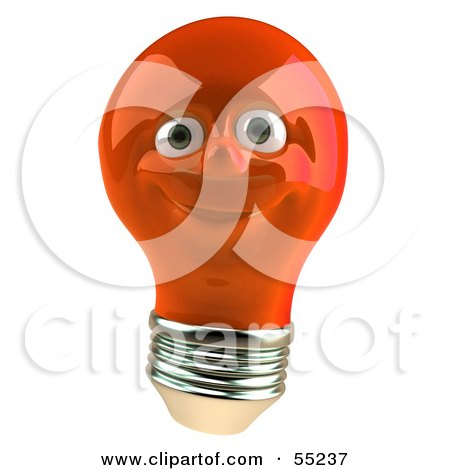 Royalty-Free (RF) Clipart Illustration of a Red 3d Electric Light Bulb Head Character Smiling by Julos