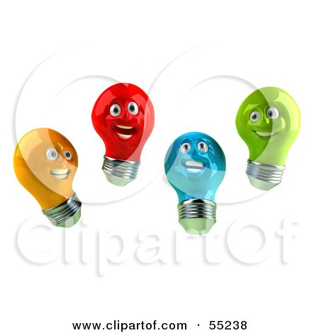 Royalty-Free (RF) Clipart Illustration of a Group Of Happy Colorful 3d Electric Light Bulb Head Characters by Julos