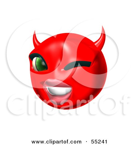 Royalty-Free (RF) Clipart Illustration of a 3d Red She Devil Emoticon Face Winking by Julos