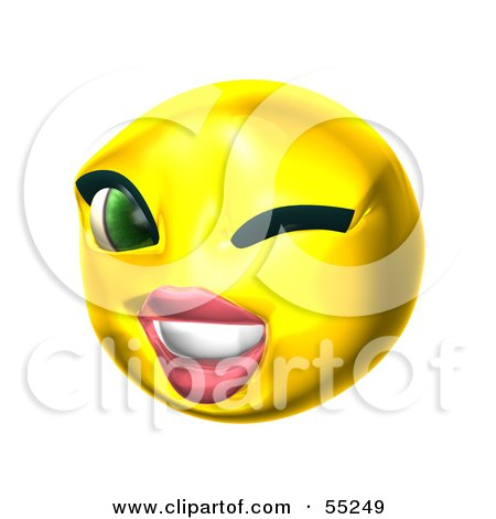 Royalty-Free (RF) Clipart Illustration of a 3d Yellow Female Smiley Face Winking by Julos