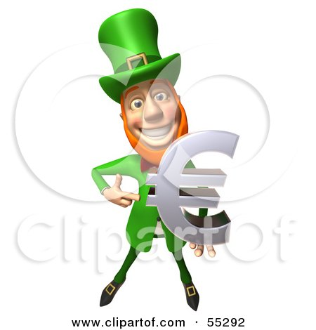 Royalty-Free (RF) Clipart Illustration of a Friendly 3d Leprechaun Man Character Holding A Euro Symbol - Version 2 by Julos