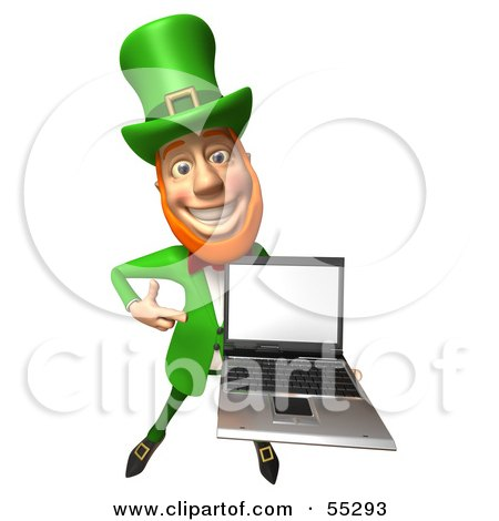 Royalty-Free (RF) Clipart Illustration of a Friendly 3d Leprechaun Man Character Holding A Laptop - Version 2 by Julos