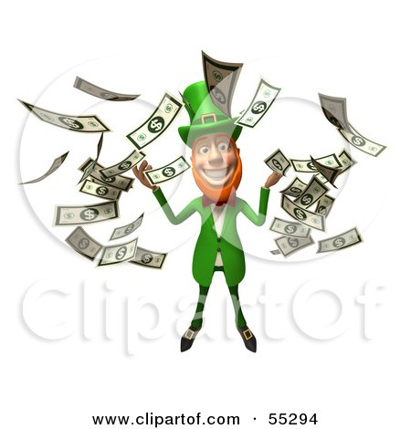 Royalty-Free (RF) Clipart Illustration of a Friendly 3d Leprechaun Man Character Throwing Cash - Version 4 by Julos