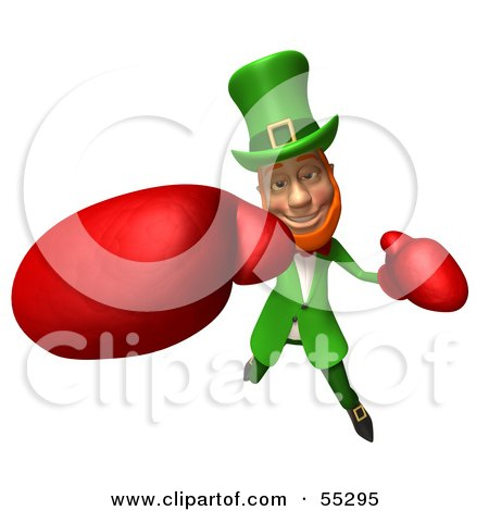 Royalty-Free (RF) Clipart Illustration of a Friendly 3d Leprechaun Man Character Boxing - Version 5 by Julos