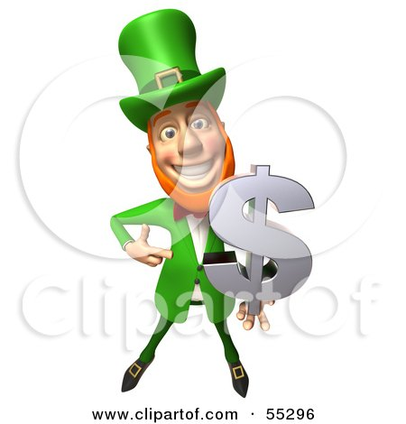 Royalty-Free (RF) Clipart Illustration of a Friendly 3d Leprechaun Man Character Holding A Dollar Symbol - Version 1 by Julos