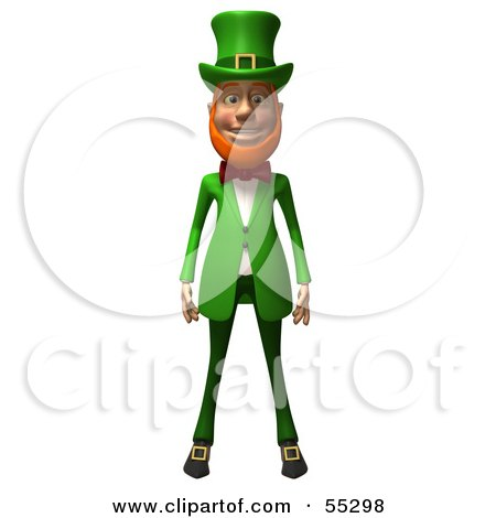 Royalty-Free (RF) Clipart Illustration of a Friendly 3d Leprechaun Man Character Facing Front by Julos