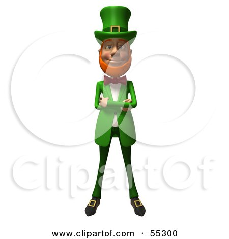 Royalty-Free (RF) Clipart Illustration of a Friendly 3d Leprechaun Man Character With His Arms Crossed - Version 1 by Julos