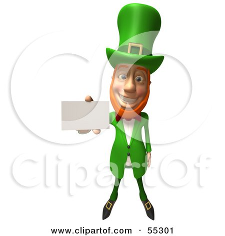 Royalty-Free (RF) Clipart Illustration of a Friendly 3d Leprechaun Man Character Holding Out A Blank Business Card - Version 1 by Julos