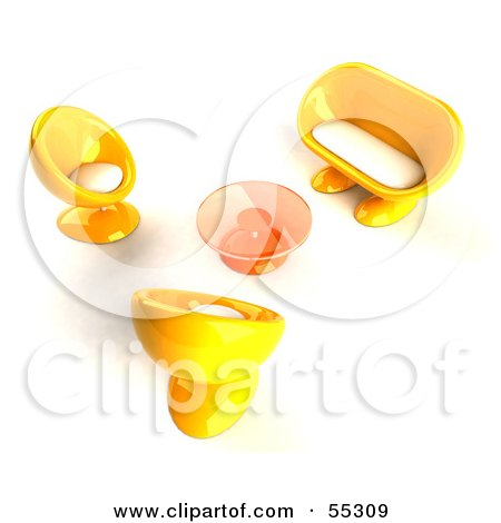 Royalty-Free (RF) Clipart Illustration of a View Down On Yellow 3d Bubble Chairs, A Coffee Table And Sofa - Version 1 by Julos