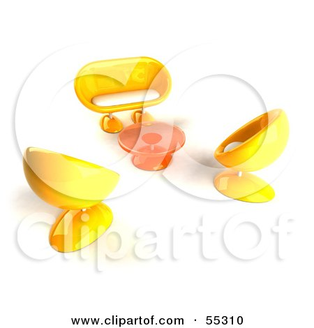 Royalty-Free (RF) Clipart Illustration of a View Down On Yellow 3d Bubble Chairs, A Coffee Table And Sofa - Version 2 by Julos