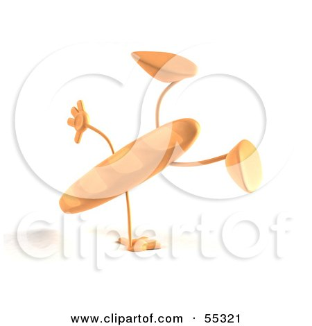 Royalty-Free (RF) Clipart Illustration of a 3d Baguette Bread Character Doing A Cartwheel - Version 2 by Julos