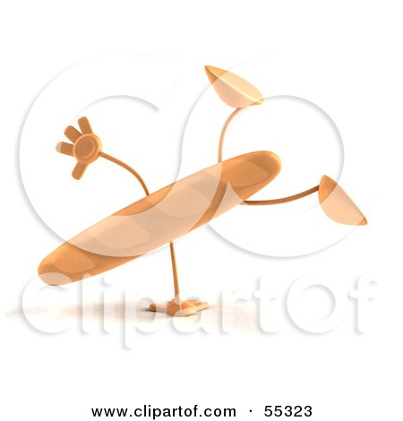 Royalty-Free (RF) Clipart Illustration of a 3d Baguette Bread Character Doing A Cartwheel - Version 1 by Julos