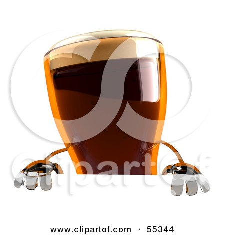 Royalty-Free (RF) Clipart Illustration of a 3d Root Beer Character Standing Behind A Blank Sign by Julos