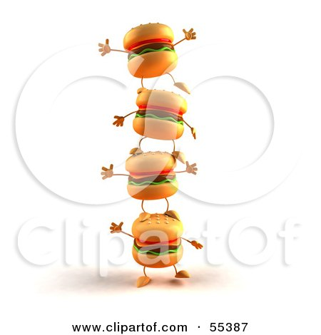 Royalty-Free (RF) Clipart Illustration of 3d Cheeseburger Characters Standing On Top Of Each Other - Version 1 by Julos