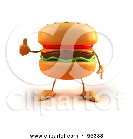 Royalty-Free (RF) Clipart Illustration of a 3d Cheeseburger Character Giving The Thumbs Up - Version 1 by Julos