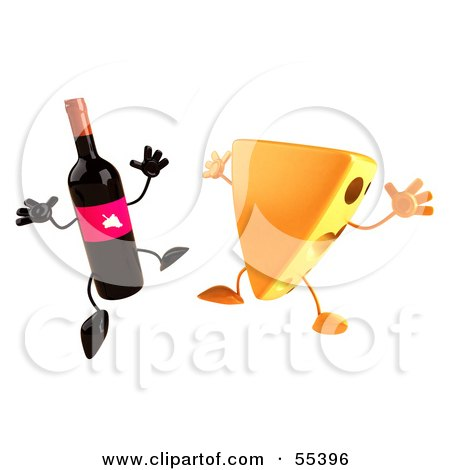 http://images.clipartof.com/small/55396-Royalty-Free-RF-Clipart-Illustration-Of-3d-Cheese-Wedge-And-Wine-Bottle-Characters-Jumping-Version-2.jpg