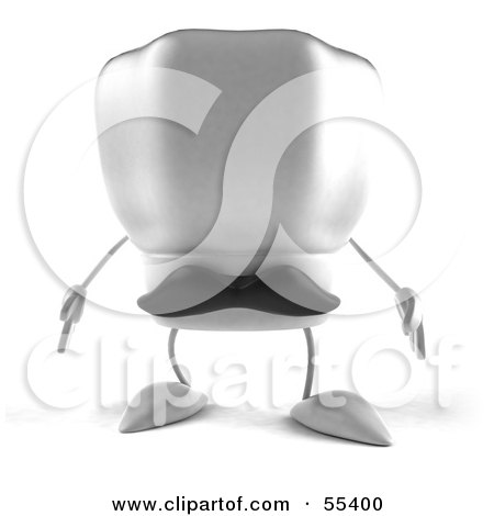 Royalty-Free (RF) Clipart Illustration of a 3d Chefs Hat Character With A Mustache Facing Front - Version 1 by Julos