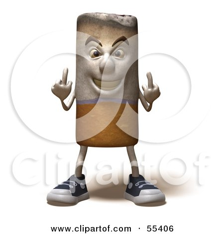 Royalty-Free (RF) Clipart Illustration of a 3d Cigarette Character Holding Up His Middle Finger - Version 5 by Julos