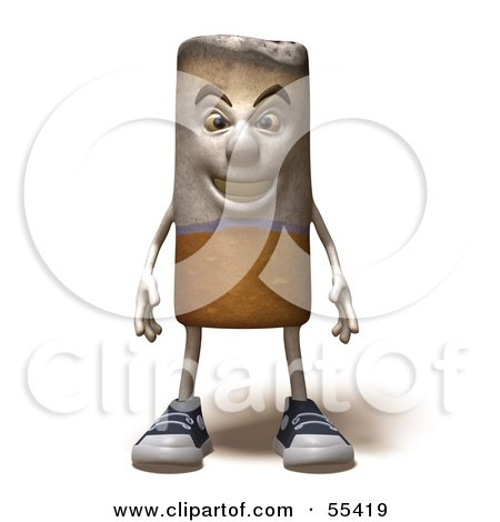 Royalty-Free (RF) Clipart Illustration of a 3d Cigarette Character Standing And Facing Front - Version 1 by Julos