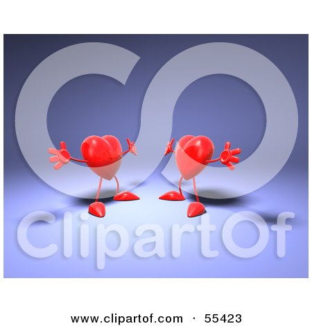 Royalty-Free (RF) Clipart Illustration of Two 3d Red Heart Characters Holding Their Arms Open For A Hug - Version 2 by Julos
