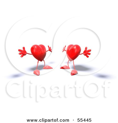 Royalty-Free (RF) Clipart Illustration of Two 3d Red Heart Characters Holding Their Arms Open For A Hug - Version 1 by Julos
