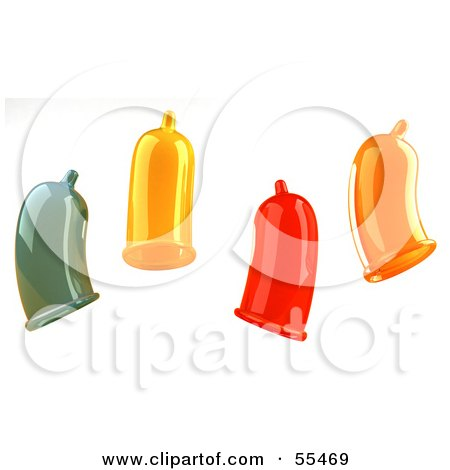 Royalty-Free (RF) Clipart Illustration of Four Colorful 3d Condoms by Julos