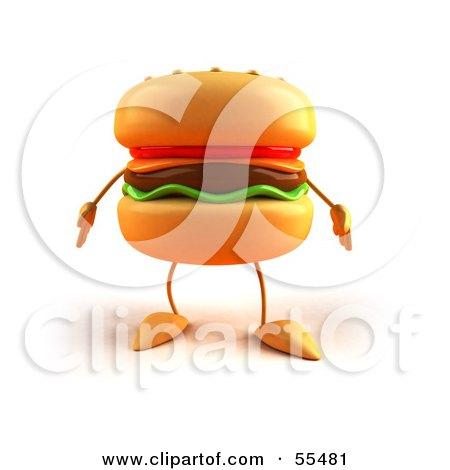 Royalty-Free (RF) Clipart Illustration of a 3d Cheeseburger Character Facing Front - Version 1 by Julos