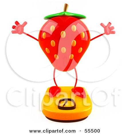Royalty-Free (RF) Clipart Illustration of a 3d Strawberry Character Standing On A Scale - Version 3 by Julos