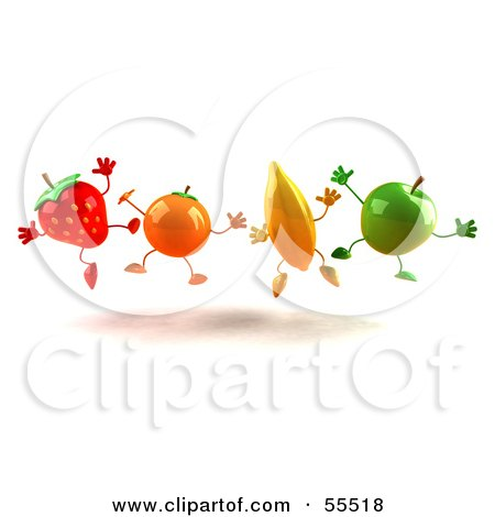 Royalty-Free (RF) Clipart Illustration of a Line Of 3d Orange, Banana, Green Apple And Strawberry Characters Jumping by Julos