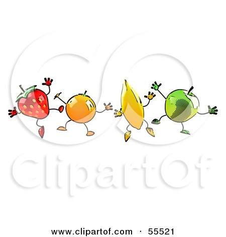 Royalty-Free (RF) Clipart Illustration of a Line Of Orange, Banana, Green Apple And Strawberry Characters Jumping by Julos